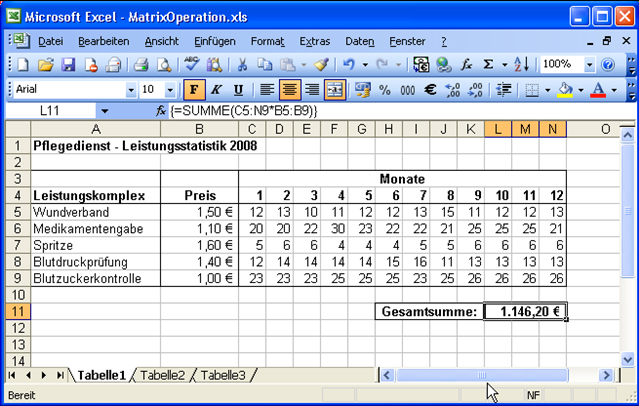 excel-matrix-operation