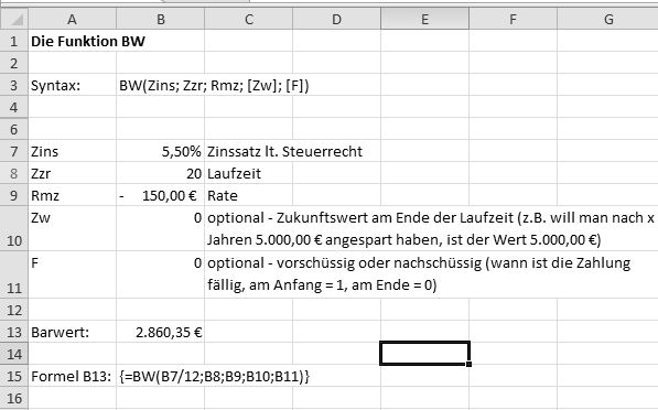 Excel Barwert ermitteln