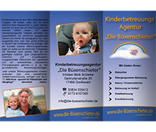 Vorschaubild Flyer Kinderbetreuungs Agentur Die Büxenschieter